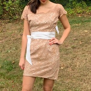 Vintage Bronze Tan Lace Wiggle Cocktail Mini Dress